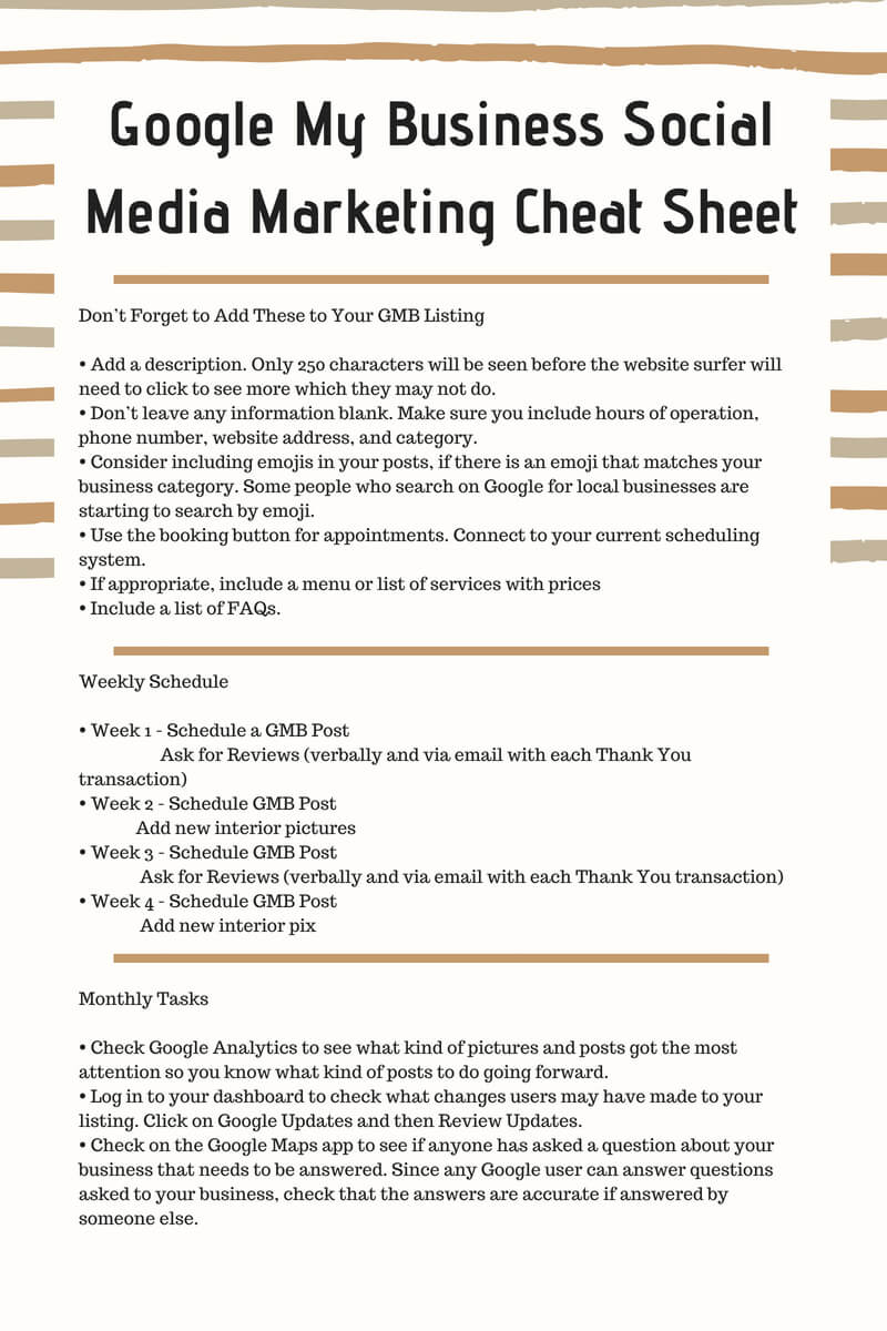 Google My Business Social Media Marketing Cheat Sheet